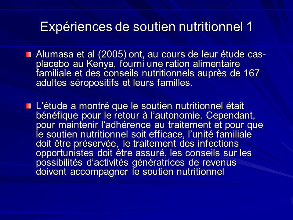Expériences de soutien nutritionnel 1 Alumasa et al (2005) ont, au cours de leur étude cas- placebo au Kenya, fourni une ration alimentaire familiale