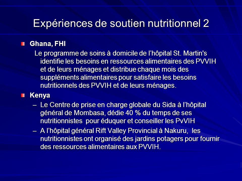 Expériences de soutien nutritionnel 2 Ghana, FHI Le programme de soins à domicile de lhôpital St. Martin's identifie les besoins en ressources aliment
