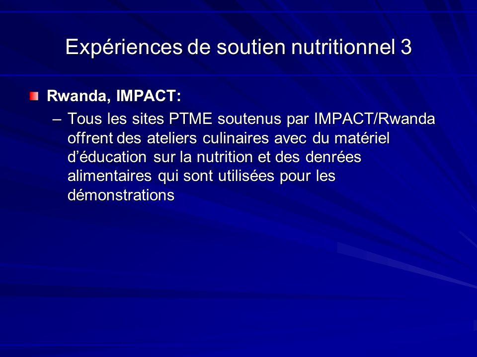 Expériences de soutien nutritionnel 3 Rwanda, IMPACT: –Tous les sites PTME soutenus par IMPACT/Rwanda offrent des ateliers culinaires avec du matériel