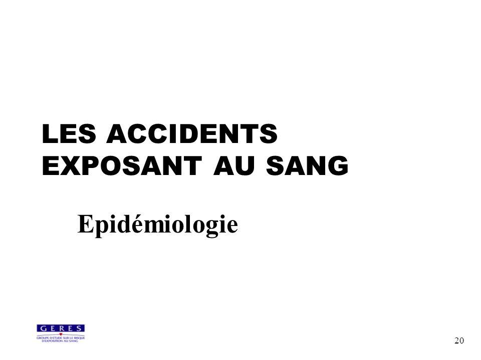 20 LES ACCIDENTS EXPOSANT AU SANG Epidémiologie