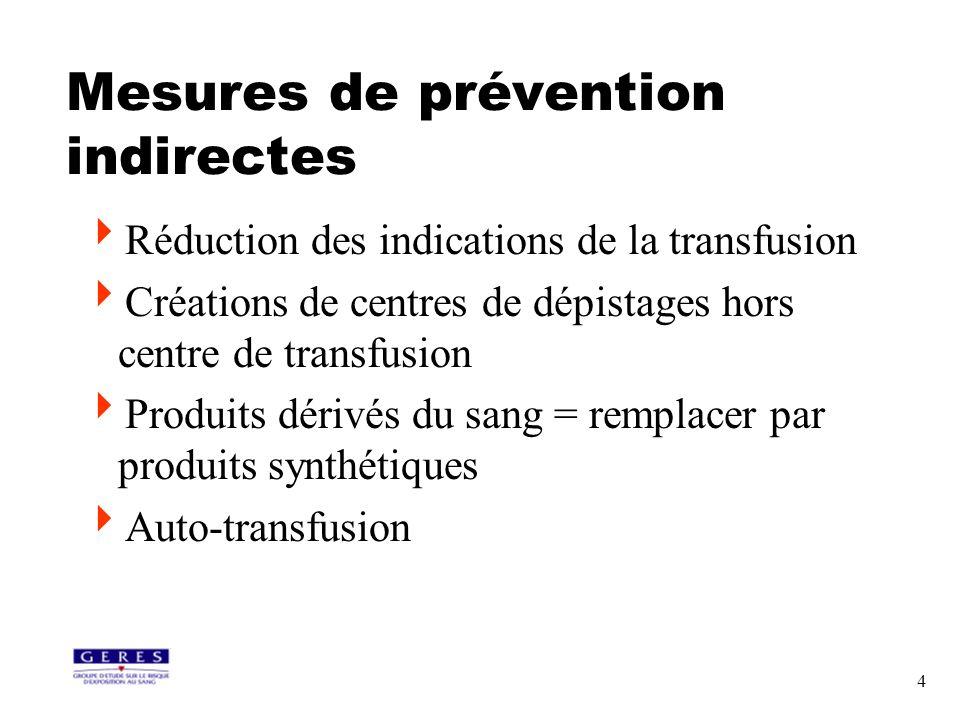 4 Mesures de prévention indirectes Réduction des indications de la transfusion Créations de centres de dépistages hors centre de transfusion Produits