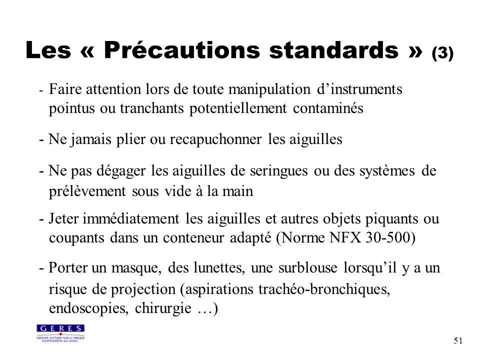 51 - Faire attention lors de toute manipulation dinstruments pointus ou tranchants potentiellement contaminés - Ne jamais plier ou recapuchonner les a
