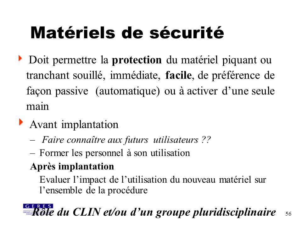 56 Matériels de sécurité Doit permettre la protection du matériel piquant ou tranchant souillé, immédiate, facile, de préférence de façon passive (aut