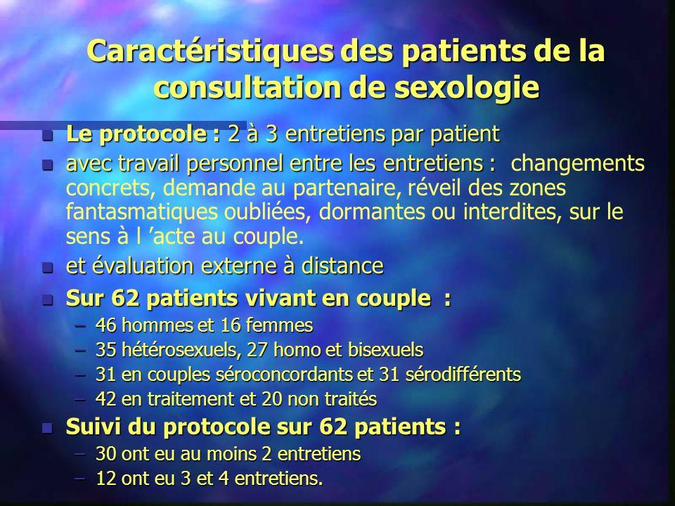 Caractéristiques des patients de la consultation de sexologie n Le protocole : 2 à 3 entretiens par patient n avec travail personnel entre les entreti