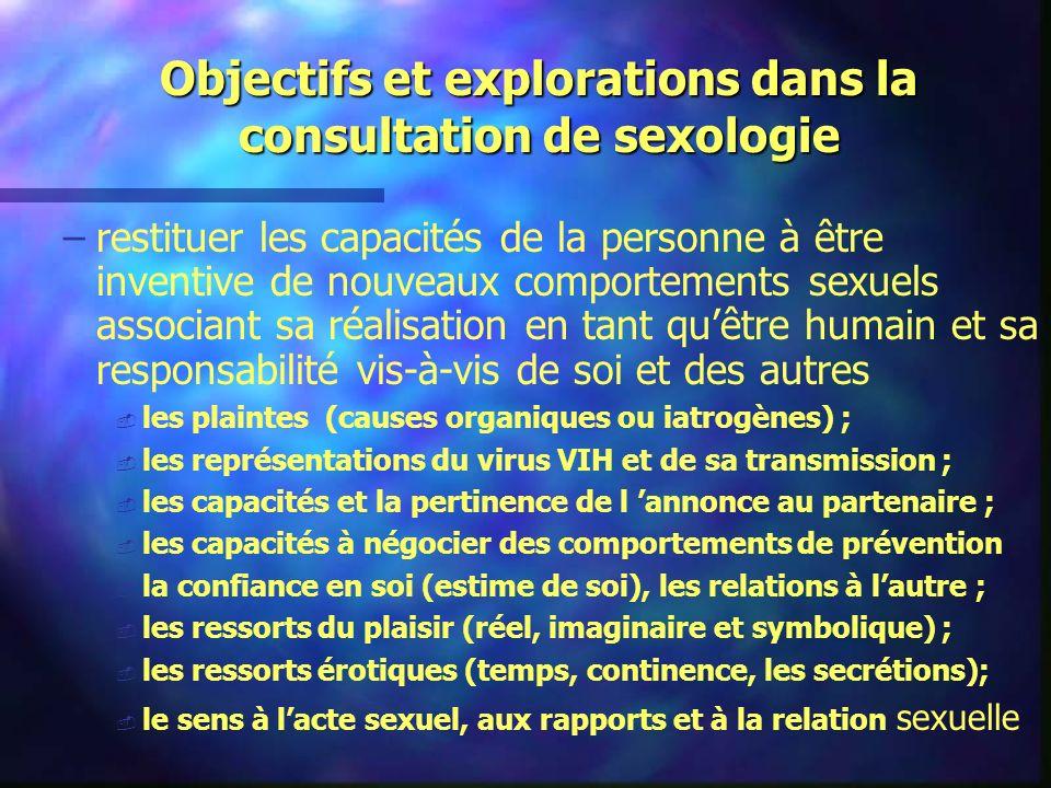 Objectifs et explorations dans la consultation de sexologie – –restituer les capacités de la personne à être inventive de nouveaux comportements sexue