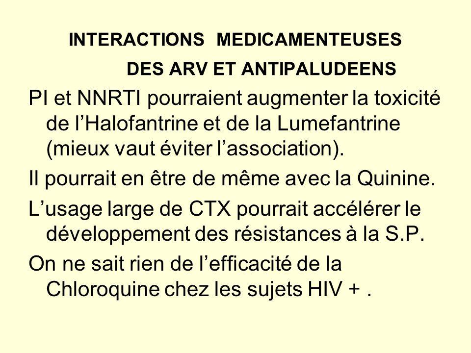 INTERACTIONS MEDICAMENTEUSES DES ARV ET ANTIPALUDEENS PI et NNRTI pourraient augmenter la toxicité de lHalofantrine et de la Lumefantrine (mieux vaut éviter lassociation).