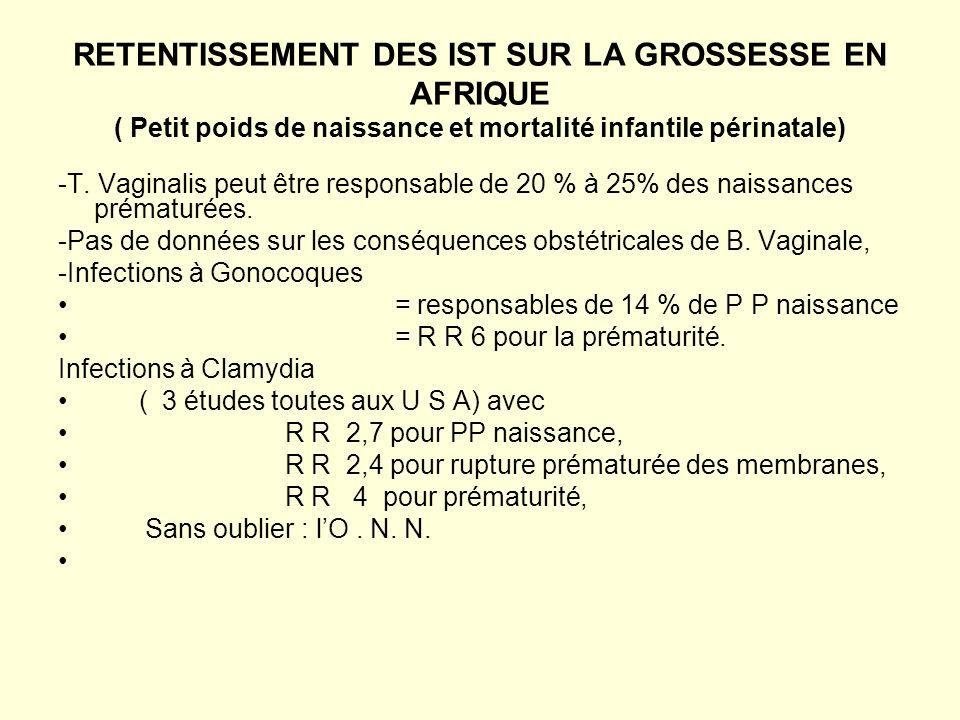 RETENTISSEMENT DES IST SUR LA GROSSESSE EN AFRIQUE ( Petit poids de naissance et mortalité infantile périnatale) -T.