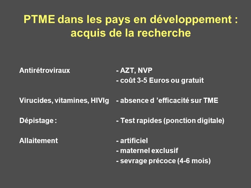 PTME dans les pays en développement : acquis de la recherche Antirétroviraux- AZT, NVP - coût 3-5 Euros ou gratuit Virucides, vitamines, HIVIg- absenc