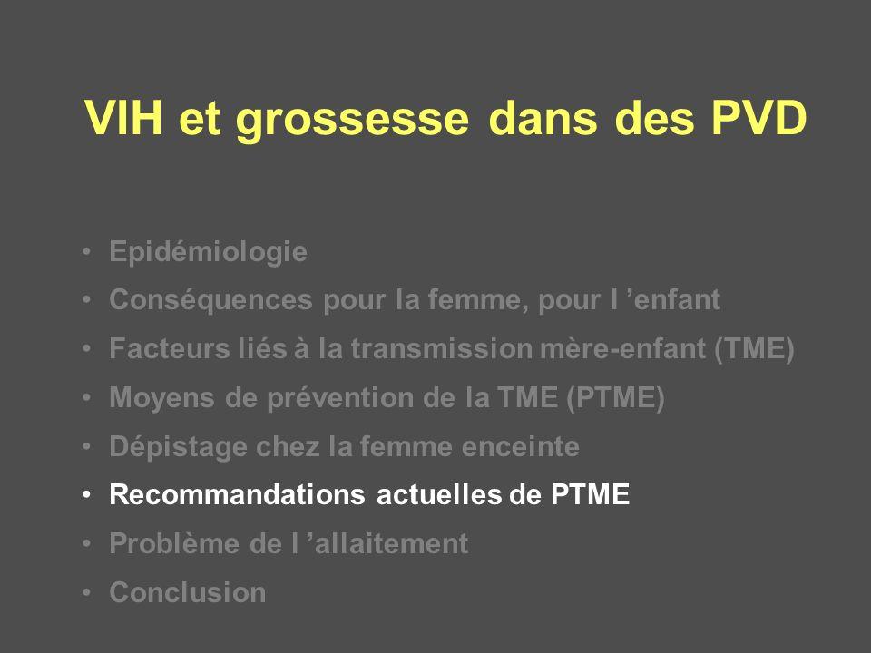 VIH et grossesse dans des PVD Epidémiologie Conséquences pour la femme, pour l enfant Facteurs liés à la transmission mère-enfant (TME) Moyens de prév