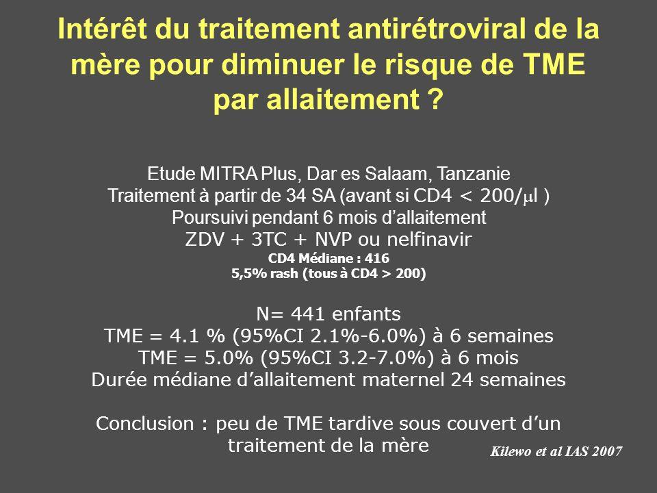 Intérêt du traitement antirétroviral de la mère pour diminuer le risque de TME par allaitement ? Kilewo et al IAS 2007 Etude MITRA Plus, Dar es Salaam