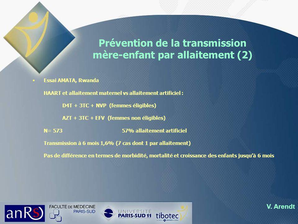 Prévention de la transmission mère-enfant par allaitement (2) Essai AMATA, Rwanda HAART et allaitement maternel vs allaitement artificiel : D4T + 3TC