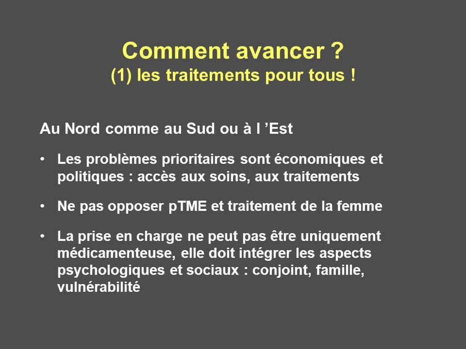 Comment avancer ? (1) les traitements pour tous ! Au Nord comme au Sud ou à l Est Les problèmes prioritaires sont économiques et politiques : accès au