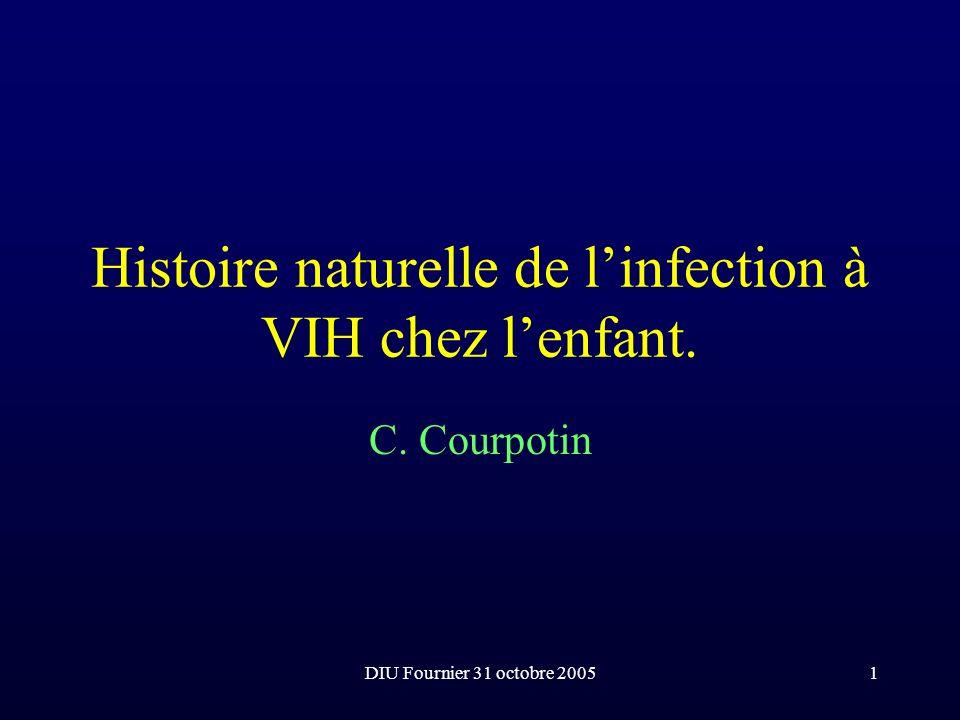 DIU Fournier 31 octobre 200532 Principales infections opportunistes de lenfant Candidose pneumocystose Toxoplasmose Varicelle/zona Infections bactériennes sévères récidivante tuberculose Mycobactéries atypiques Cryptococcose CMV