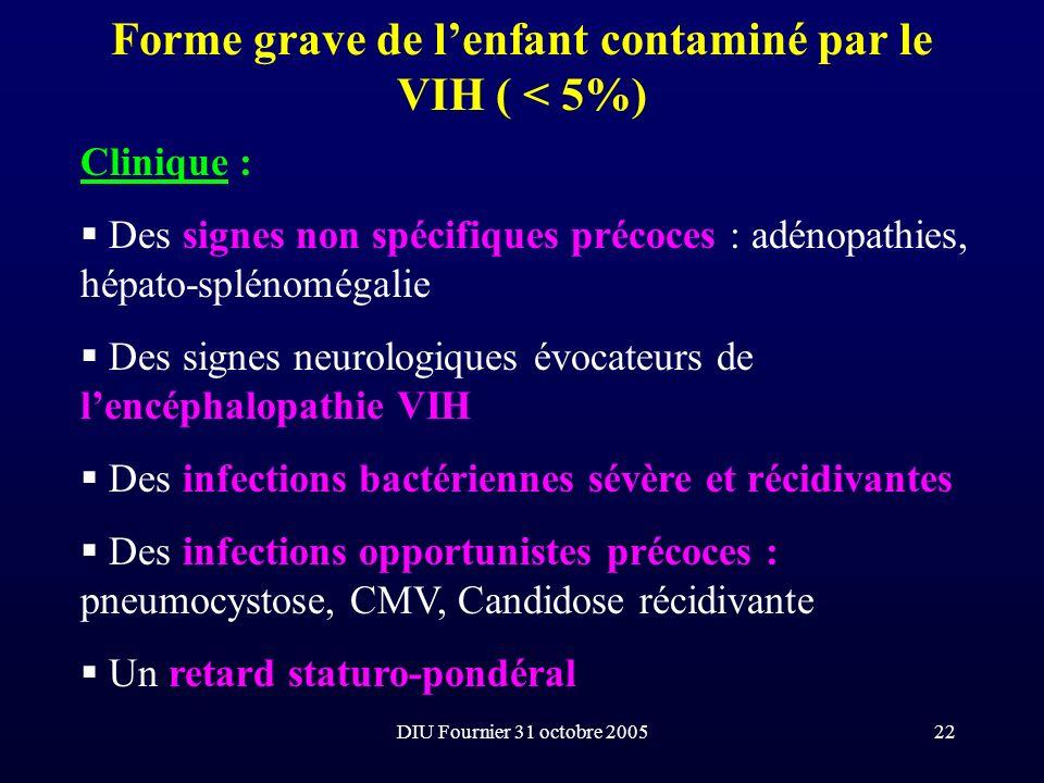 DIU Fournier 31 octobre 200522 Forme grave de lenfant contaminé par le VIH ( < 5%) Clinique : Des signes non spécifiques précoces : adénopathies, hépa