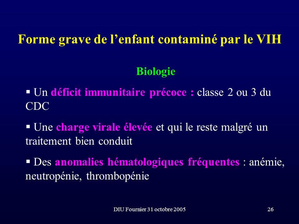 DIU Fournier 31 octobre 200526 Forme grave de lenfant contaminé par le VIH Biologie Un déficit immunitaire précoce : classe 2 ou 3 du CDC Une charge v