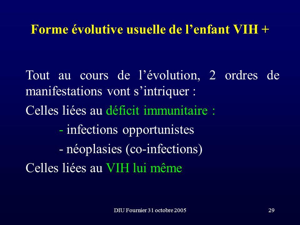 DIU Fournier 31 octobre 200529 Forme évolutive usuelle de lenfant VIH + Tout au cours de lévolution, 2 ordres de manifestations vont sintriquer : Cell