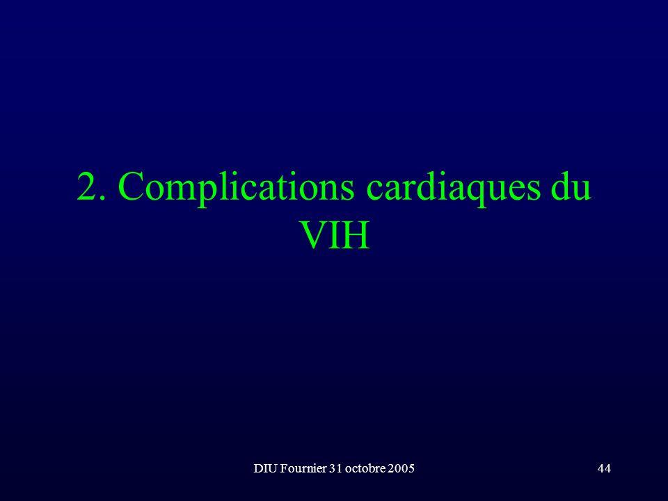DIU Fournier 31 octobre 200544 2. Complications cardiaques du VIH