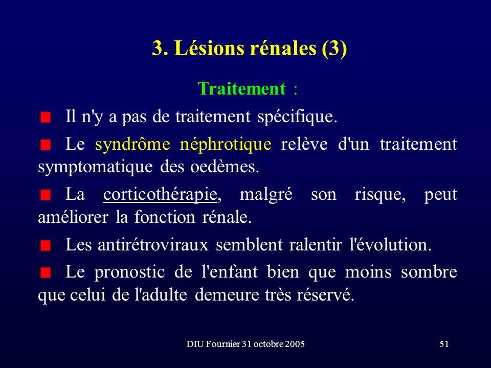 DIU Fournier 31 octobre 200551 3. Lésions rénales (3) Traitement : Il n'y a pas de traitement spécifique. Le syndrôme néphrotique relève d'un traiteme