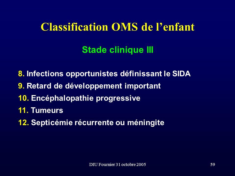 DIU Fournier 31 octobre 200559 Classification OMS de lenfant Stade clinique III 8. Infections opportunistes définissant le SIDA 9. Retard de développe
