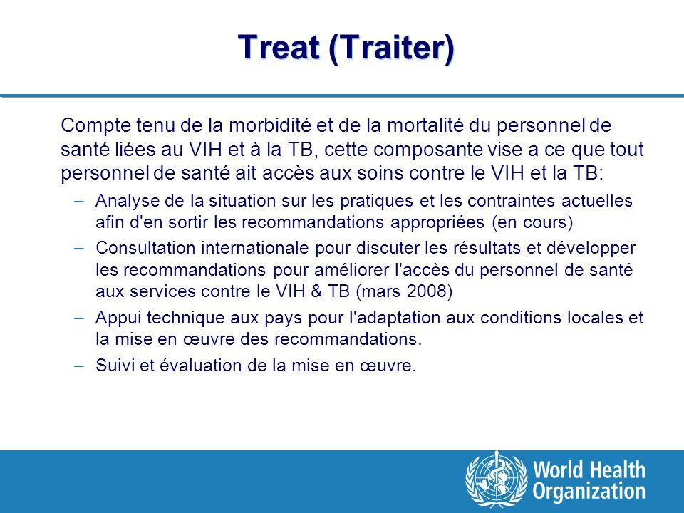 Treat (Traiter) Compte tenu de la morbidité et de la mortalité du personnel de santé liées au VIH et à la TB, cette composante vise a ce que tout personnel de santé ait accès aux soins contre le VIH et la TB: –Analyse de la situation sur les pratiques et les contraintes actuelles afin d en sortir les recommandations appropriées (en cours) –Consultation internationale pour discuter les résultats et développer les recommandations pour améliorer l accès du personnel de santé aux services contre le VIH & TB (mars 2008) –Appui technique aux pays pour l adaptation aux conditions locales et la mise en œuvre des recommandations.