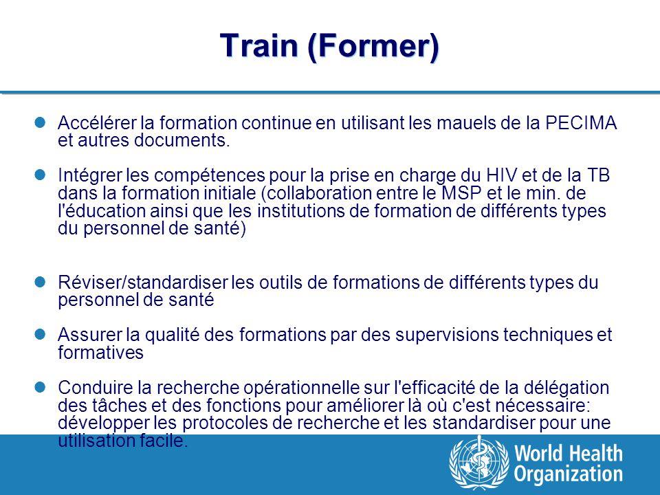 Train (Former) Accélérer la formation continue en utilisant les mauels de la PECIMA et autres documents.