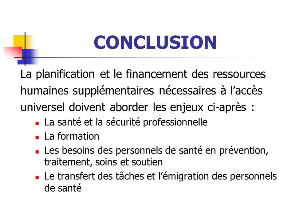 CONCLUSION La planification et le financement des ressources humaines supplémentaires nécessaires à laccès universel doivent aborder les enjeux ci-apr