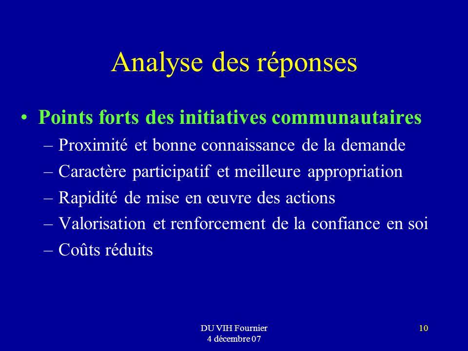 DU VIH Fournier 4 décembre 07 10 Analyse des réponses Points forts des initiatives communautaires –Proximité et bonne connaissance de la demande –Cara