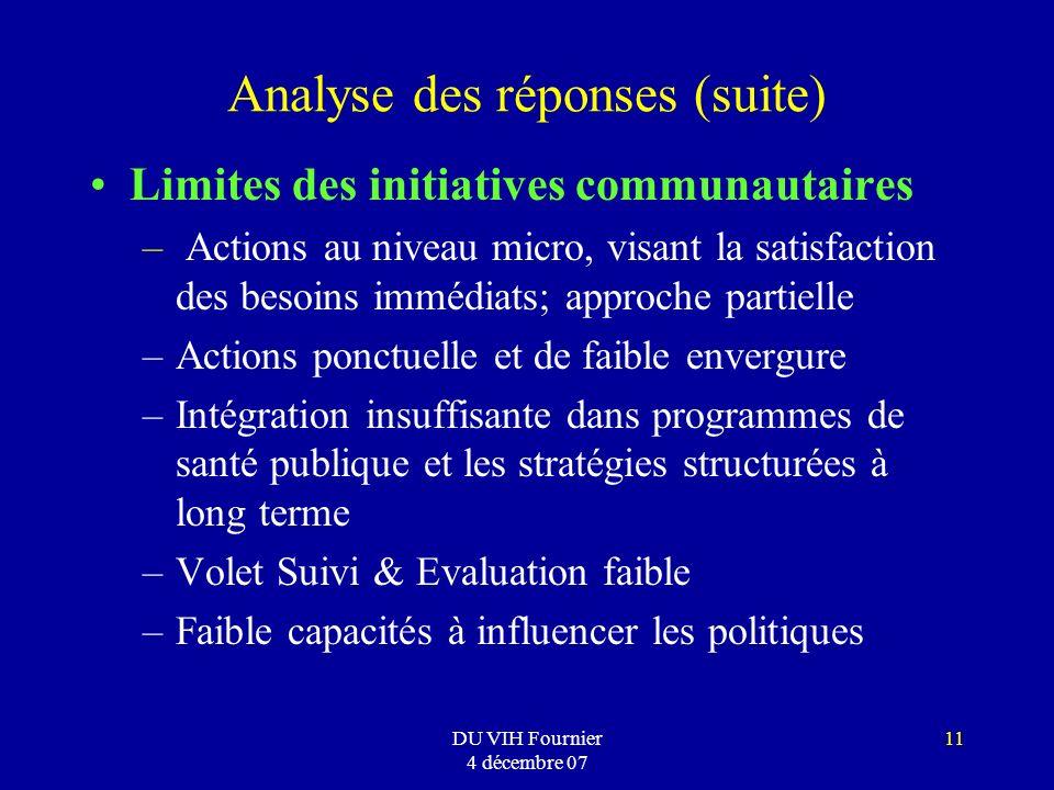 DU VIH Fournier 4 décembre 07 11 Analyse des réponses (suite) Limites des initiatives communautaires – Actions au niveau micro, visant la satisfaction