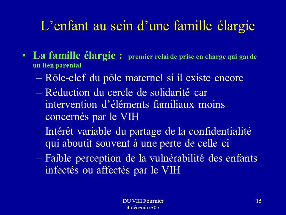 DU VIH Fournier 4 décembre 07 15 Lenfant au sein dune famille élargie La famille élargie : premier relai de prise en charge qui garde un lien parental