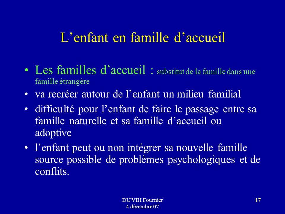 DU VIH Fournier 4 décembre 07 17 Lenfant en famille daccueil Les familles daccueil : substitut de la famille dans une famille étrangère va recréer aut