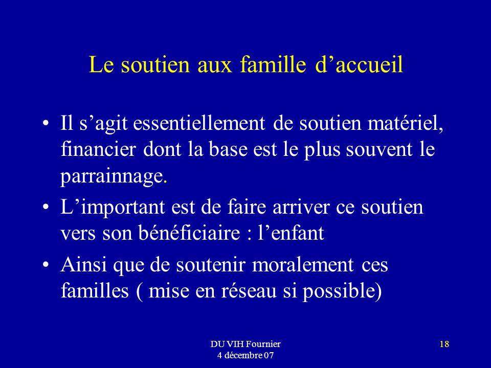DU VIH Fournier 4 décembre 07 18 Le soutien aux famille daccueil Il sagit essentiellement de soutien matériel, financier dont la base est le plus souv