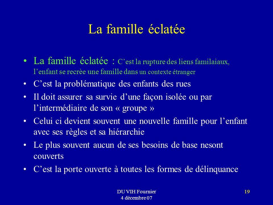 DU VIH Fournier 4 décembre 07 19 La famille éclatée La famille éclatée : Cest la rupture des liens familaiaux, lenfant se recrèe une famille dans un c