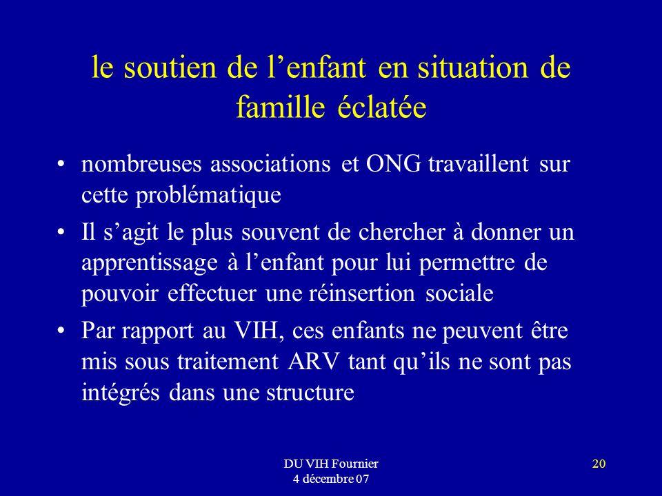 DU VIH Fournier 4 décembre 07 20 le soutien de lenfant en situation de famille éclatée nombreuses associations et ONG travaillent sur cette problémati