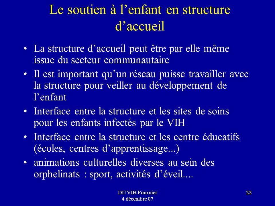 DU VIH Fournier 4 décembre 07 22 Le soutien à lenfant en structure daccueil La structure daccueil peut être par elle même issue du secteur communautai