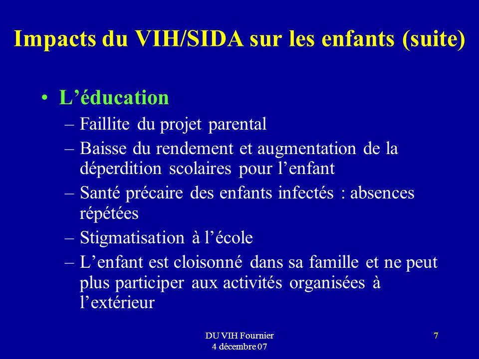 DU VIH Fournier 4 décembre 07 7 Impacts du VIH/SIDA sur les enfants (suite) Léducation –Faillite du projet parental –Baisse du rendement et augmentati