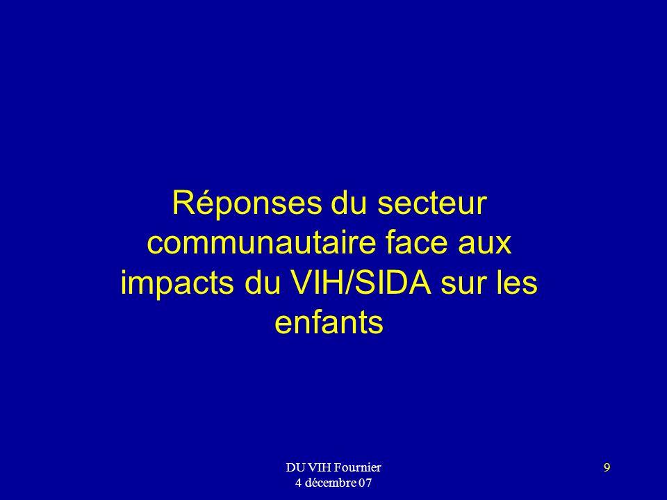 DU VIH Fournier 4 décembre 07 9 Réponses du secteur communautaire face aux impacts du VIH/SIDA sur les enfants