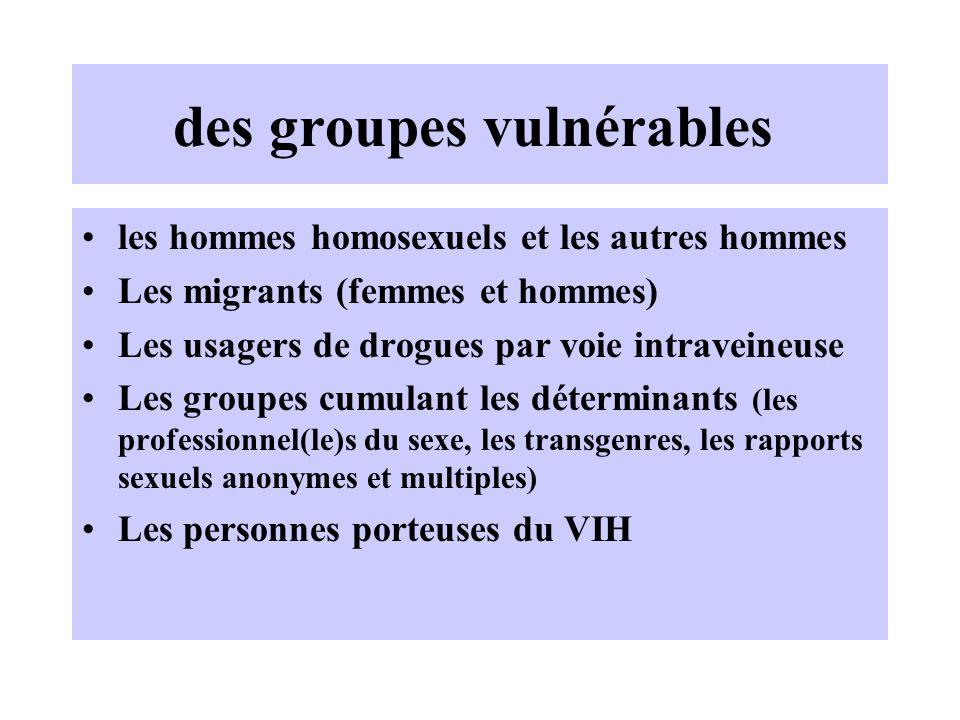 des groupes vulnérables les hommes homosexuels et les autres hommes Les migrants (femmes et hommes) Les usagers de drogues par voie intraveineuse Les