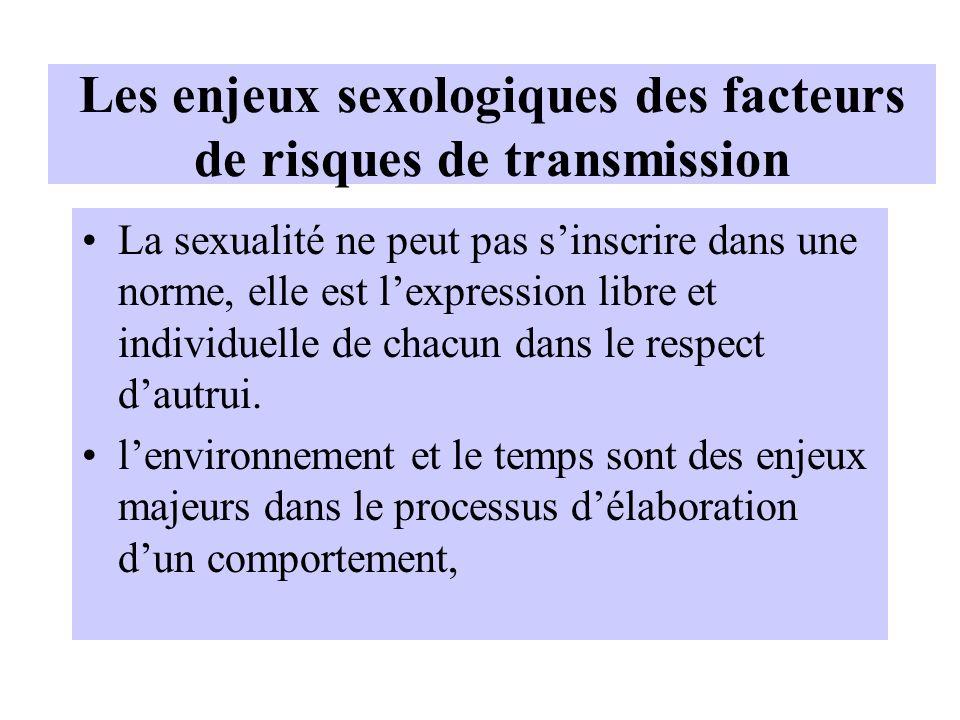 Les enjeux sexologiques des facteurs de risques de transmission La sexualité ne peut pas sinscrire dans une norme, elle est lexpression libre et indiv