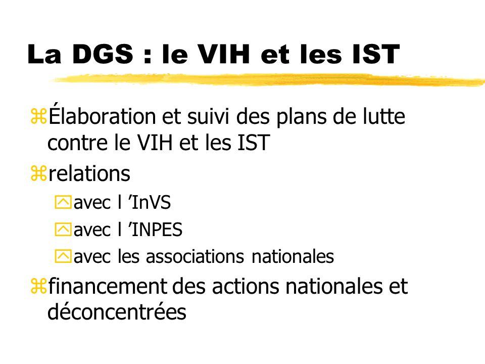 La DGS : le VIH et les IST zÉlaboration et suivi des plans de lutte contre le VIH et les IST zrelations yavec l InVS yavec l INPES yavec les associations nationales zfinancement des actions nationales et déconcentrées