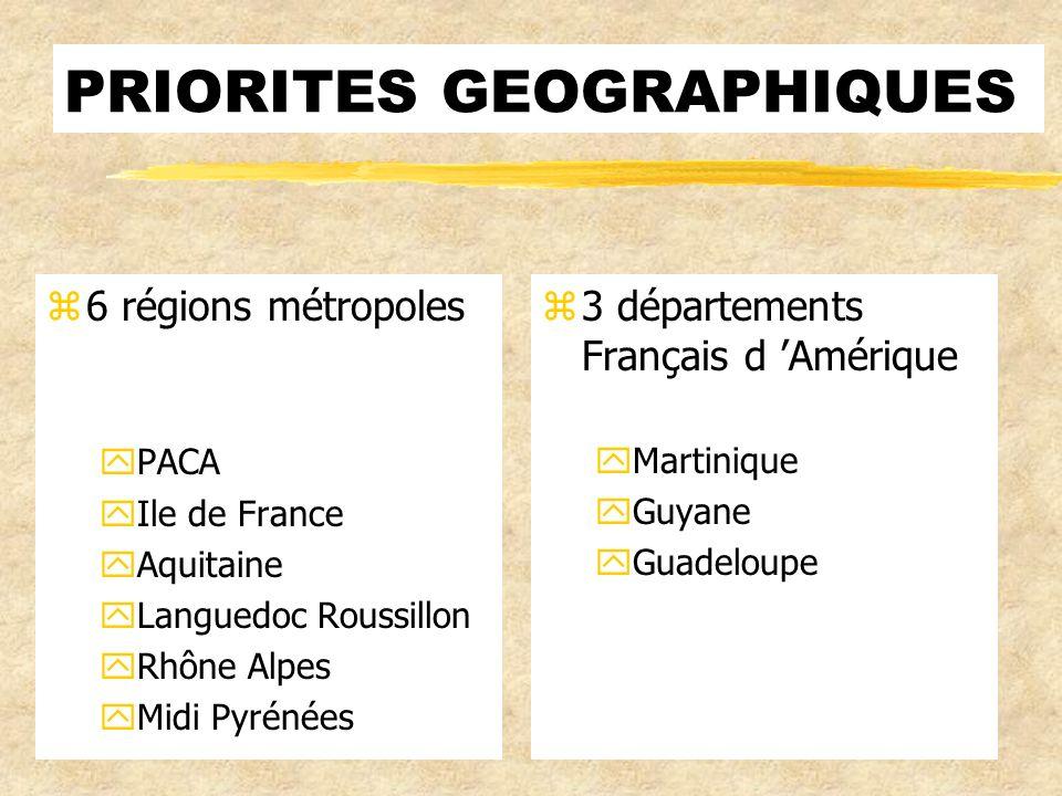 PRIORITES GEOGRAPHIQUES z6 régions métropoles yPACA yIle de France yAquitaine yLanguedoc Roussillon yRhône Alpes yMidi Pyrénées z 3 départements Français d Amérique yMartinique yGuyane yGuadeloupe