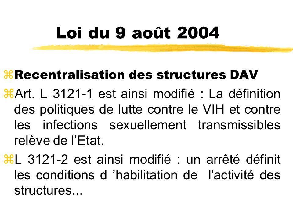 Loi du 9 août 2004 zRecentralisation des structures DAV zArt.