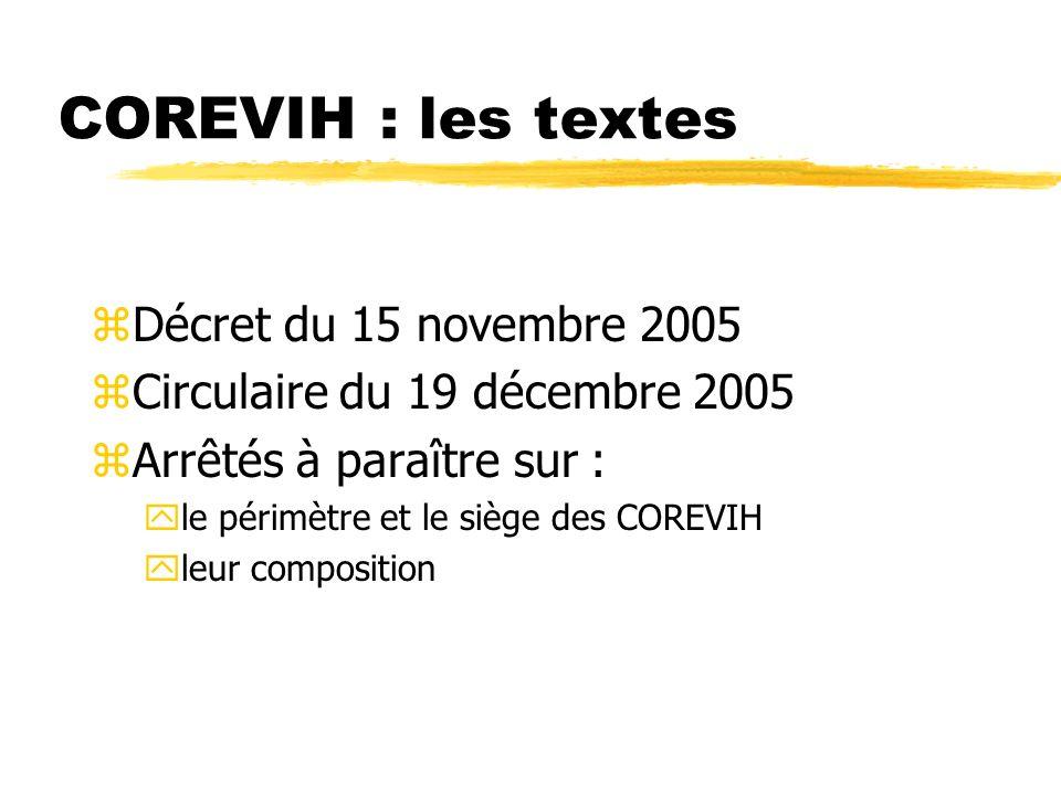 COREVIH : les textes zDécret du 15 novembre 2005 zCirculaire du 19 décembre 2005 zArrêtés à paraître sur : yle périmètre et le siège des COREVIH yleur composition