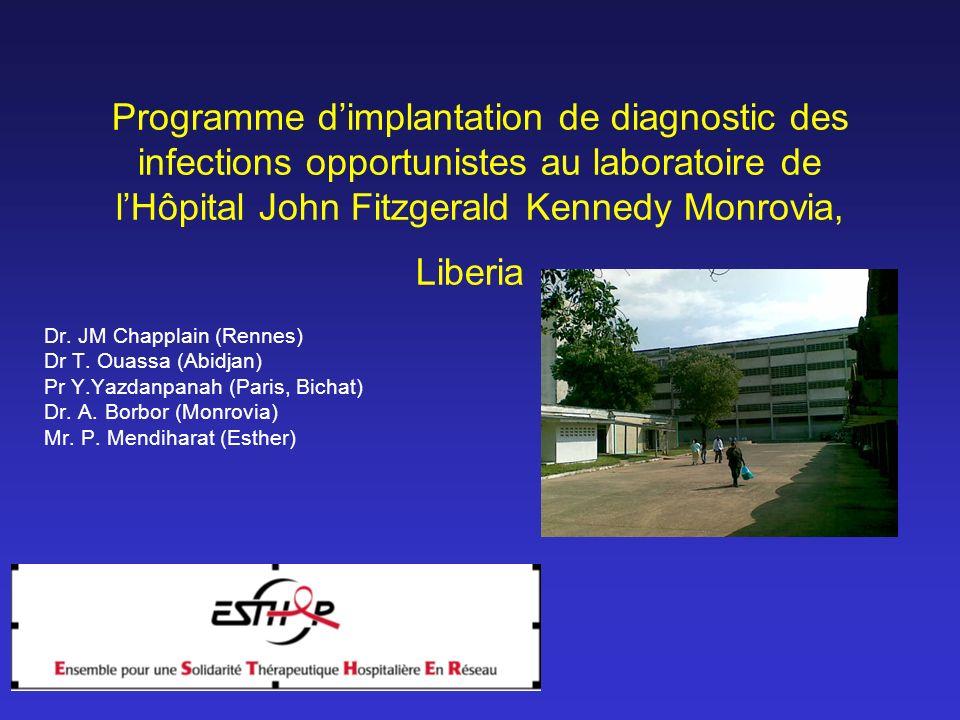 9:30am Programme dimplantation de diagnostic des infections opportunistes au laboratoire de lHôpital John Fitzgerald Kennedy Monrovia, Liberia Dr. JM