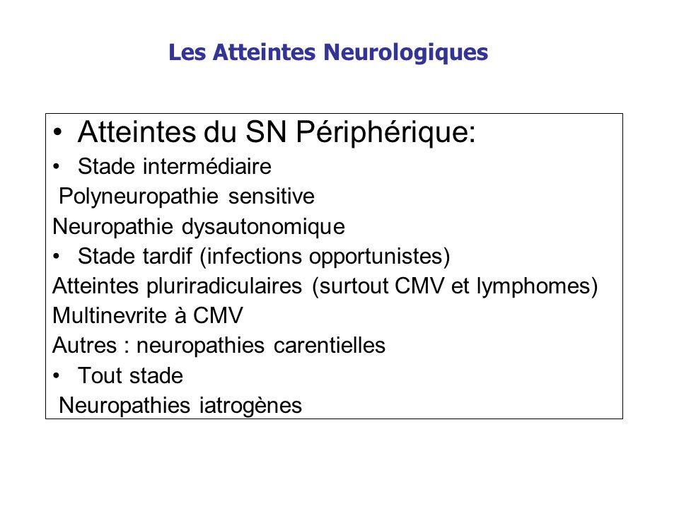 Les Atteintes Neurologiques Atteintes du SN Périphérique: Stade intermédiaire Polyneuropathie sensitive Neuropathie dysautonomique Stade tardif (infec