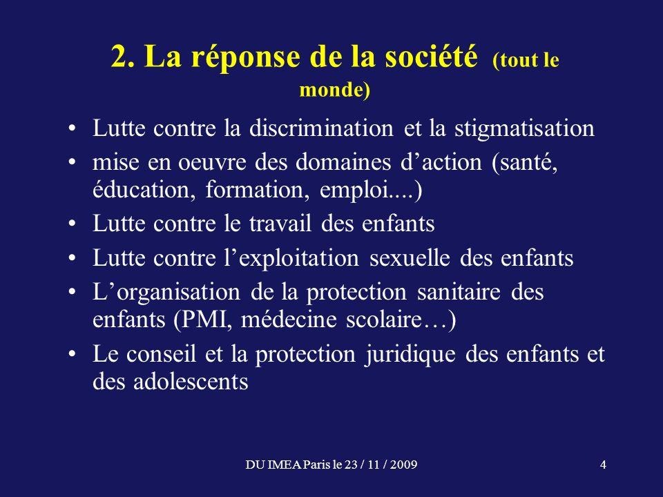 DU IMEA Paris le 23 / 11 / 20094 2. La réponse de la société (tout le monde) Lutte contre la discrimination et la stigmatisation mise en oeuvre des do