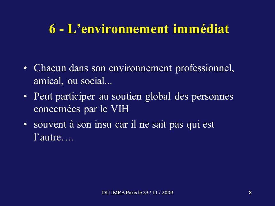 DU IMEA Paris le 23 / 11 / 20098 6 - Lenvironnement immédiat Chacun dans son environnement professionnel, amical, ou social... Peut participer au sout