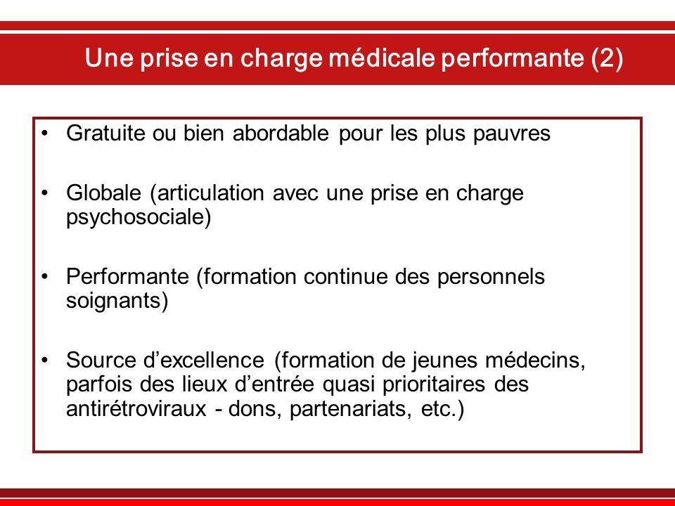 Une prise en charge médicale performante (2) Gratuite ou bien abordable pour les plus pauvres Globale (articulation avec une prise en charge psychosoc