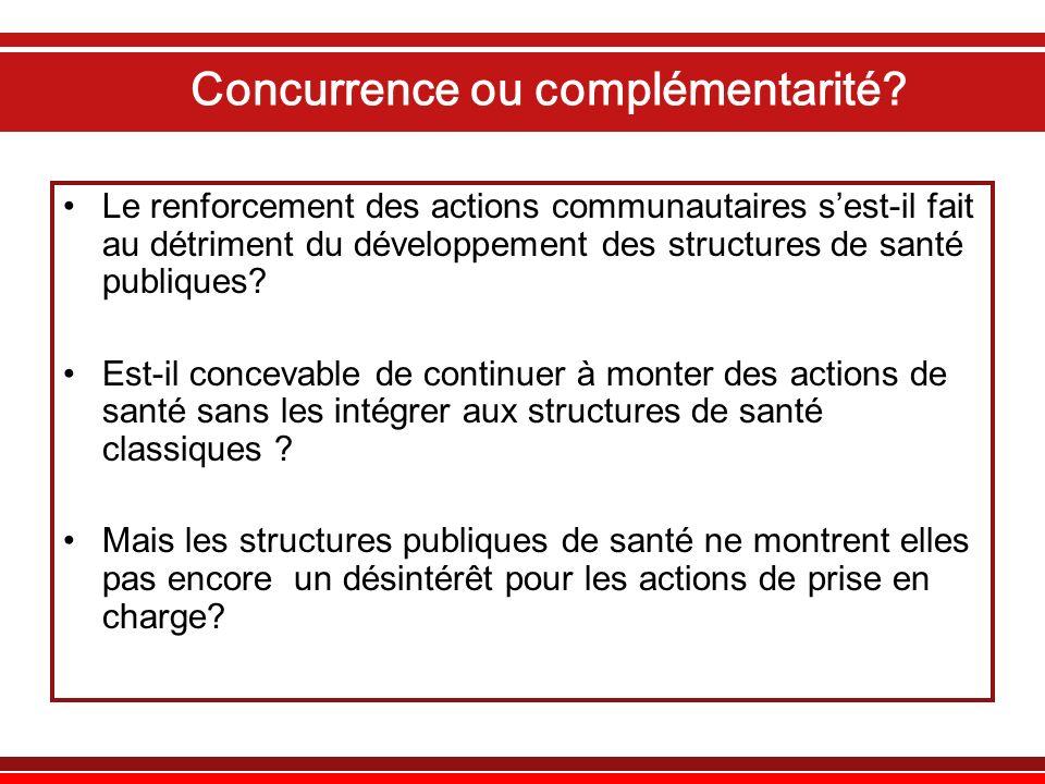 Concurrence ou complémentarité? Le renforcement des actions communautaires sest-il fait au détriment du développement des structures de santé publique