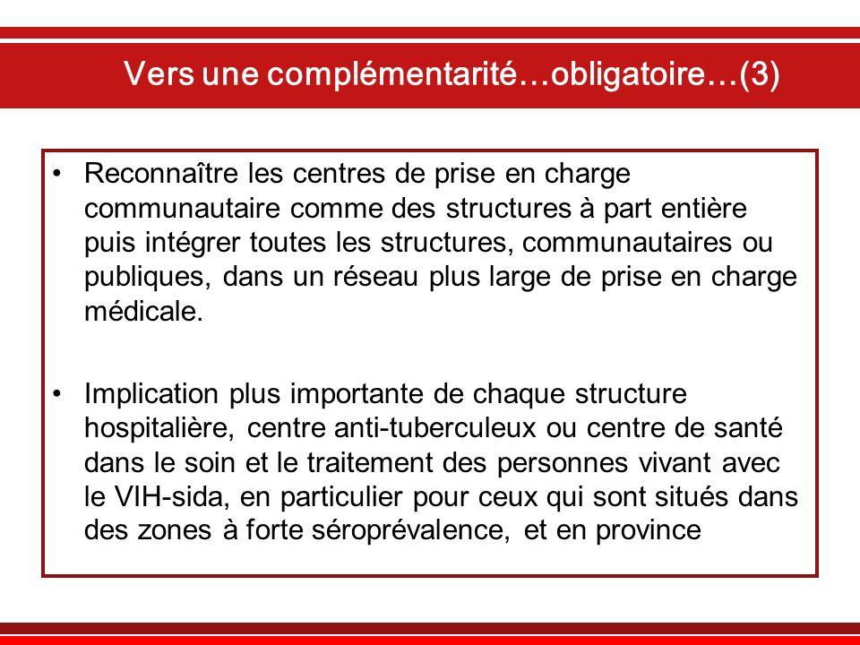 Vers une complémentarité…obligatoire…(3) Reconnaître les centres de prise en charge communautaire comme des structures à part entière puis intégrer to