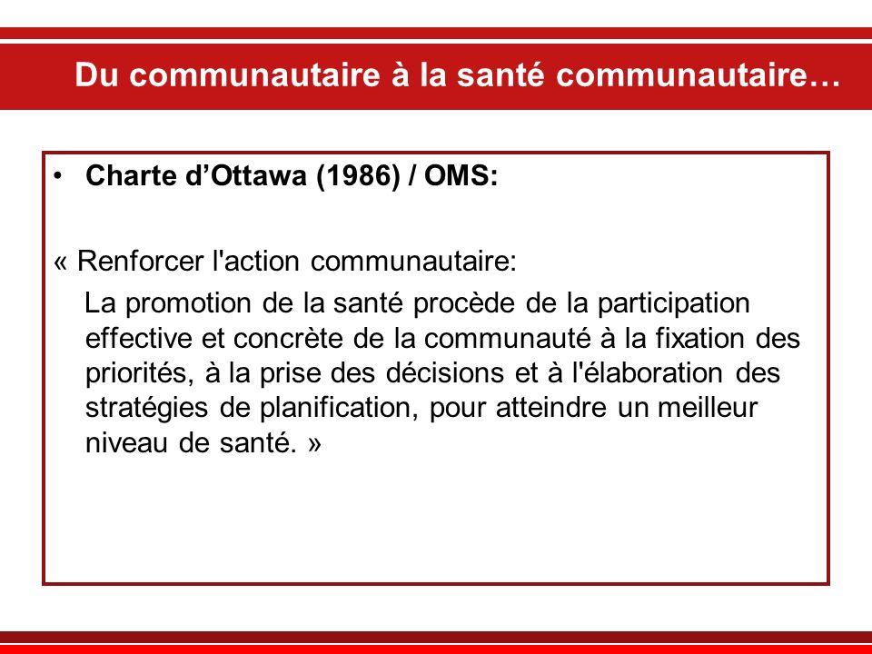 Du communautaire à la santé communautaire… Charte dOttawa (1986) / OMS: « Renforcer l'action communautaire: La promotion de la santé procède de la par